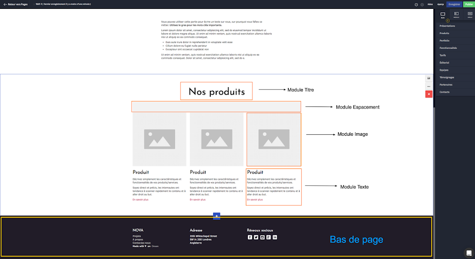 Structure d'une page web : les modules