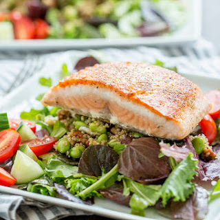Intern Quinoa Salad with Pan Seared Salmon and Balsamic Greens