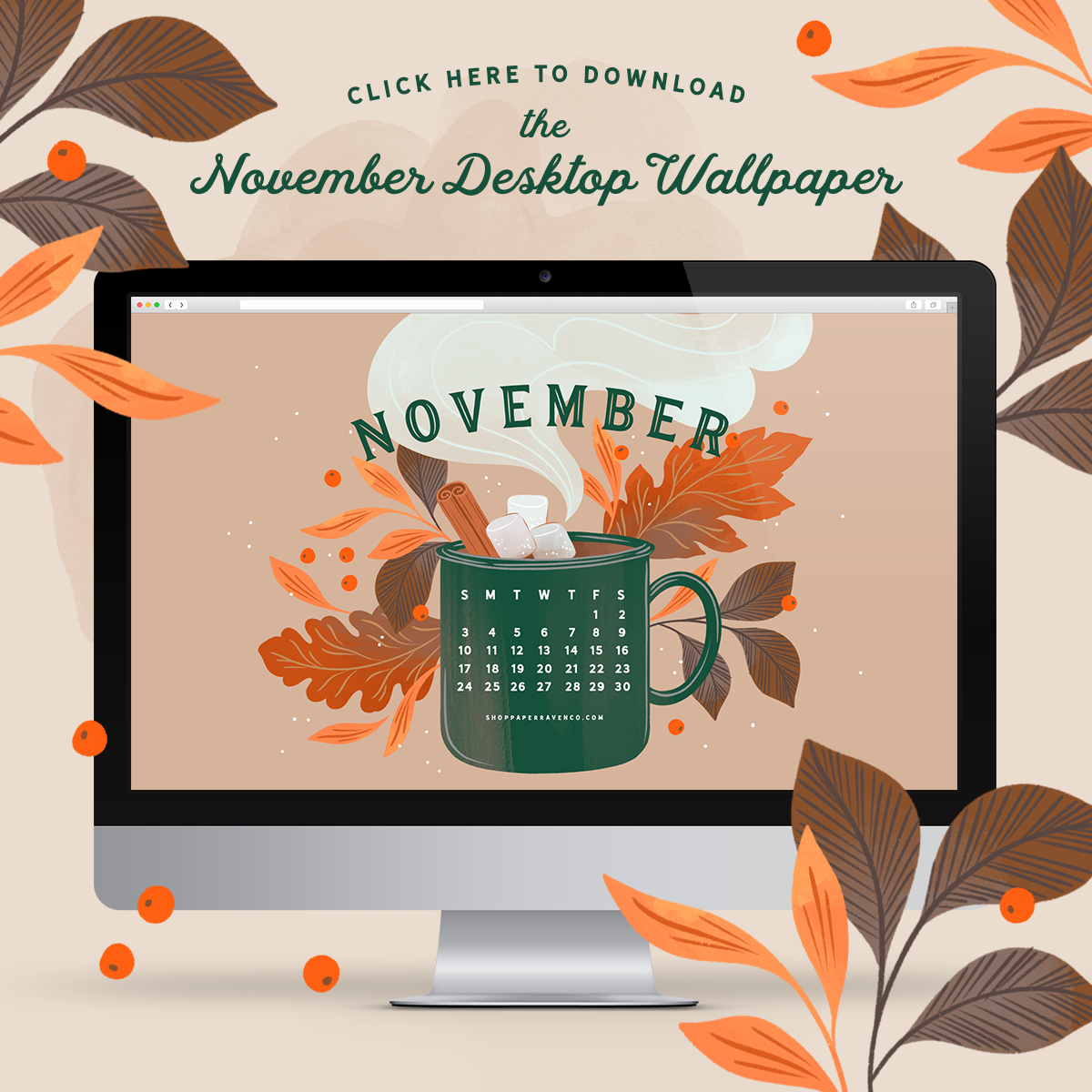 November 2019 Illustrated Desktop Wallpaper by Paper Raven Co. #desktopdownload #dressyourtech