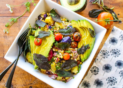 Grilled Corn and Potato Salad with Sage Leaves