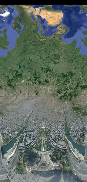 Photo: France, Eiffel Tower. Satellite view.