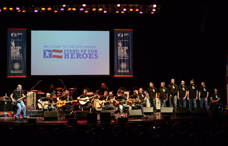 """Photo: Wounded veterans performed alongside Roger Waters from Pink Floyd. The last song from Roger Water's set was a rendition of """"Wide River to Cross,"""" with lead vocals by one of the wounded warriors. Watch Roger's performance here:http://goo.gl/bP7Q1 (Stand Up For Heroes 