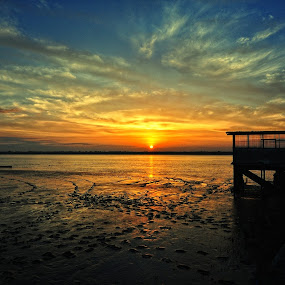 Kabong Sunrise by Ismail Rali - Landscapes Sunsets & Sunrises ( clouds, orange, blue, sunrise, landscape, sarawak, kabong )