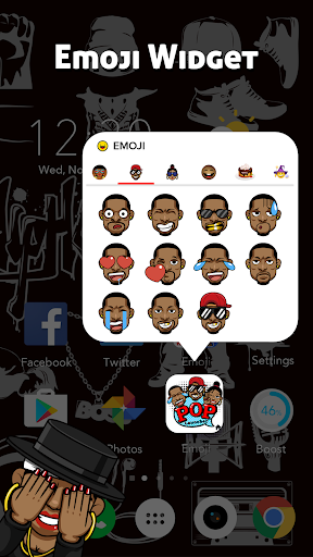 CoCo Launcher - Black Emoji, 3D Theme 1.0.4 4