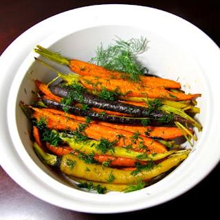 Honey Glazed Roasted Carrots with Dill.