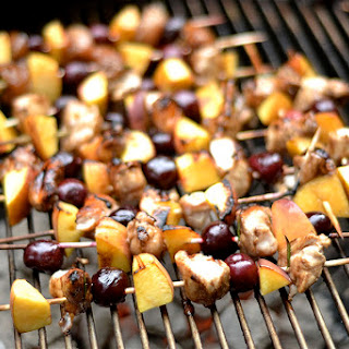 Grilled Balsamic Chicken, Cherry, and Peach Kabobs.