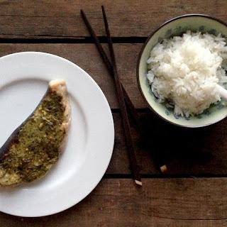 Grilled Swordfish Steak with a Pesto, Chili and Lemon Crust Recipe