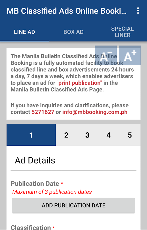 MB Classified Ads Booking- screenshot