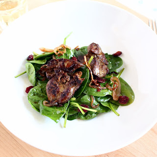 Pan Roasted Chicken Liver and Spinach Salad with Shallots and Dried Cranberries Recipe