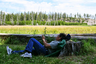 Photo: Nice meadow for photos (which is what Papa's doing, not texting)