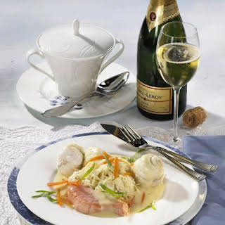 Poached Fish with Champagne Vegetables.