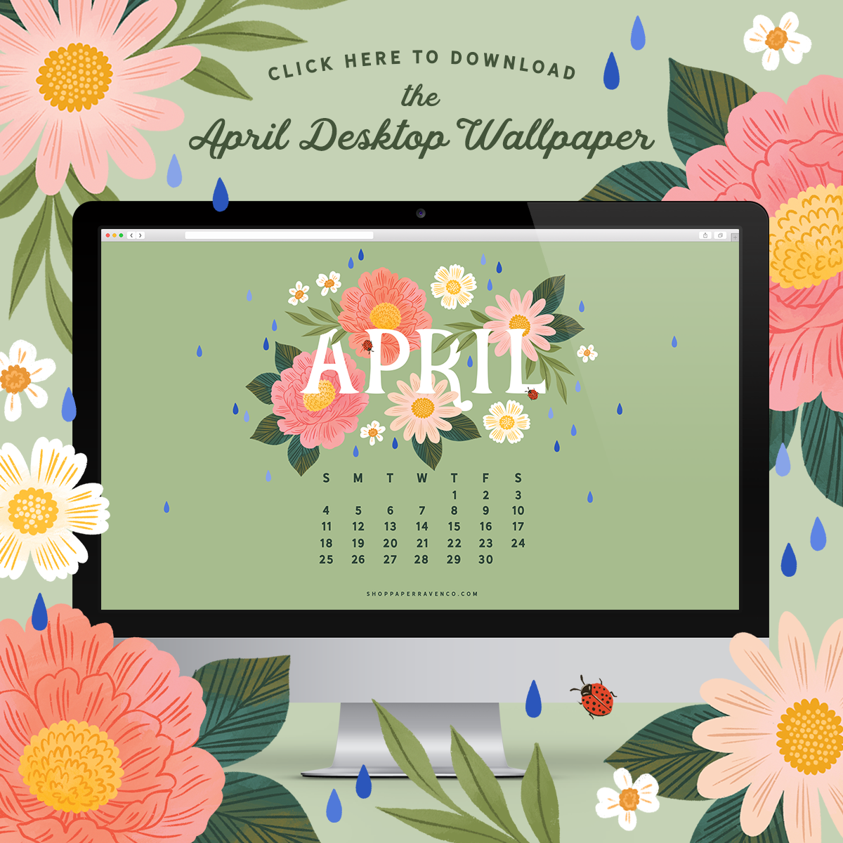 April 2021 Illustrated Desktop Wallpaper by Paper Raven Co. #dressyourtech #desktopwallpaper #desktopdownload