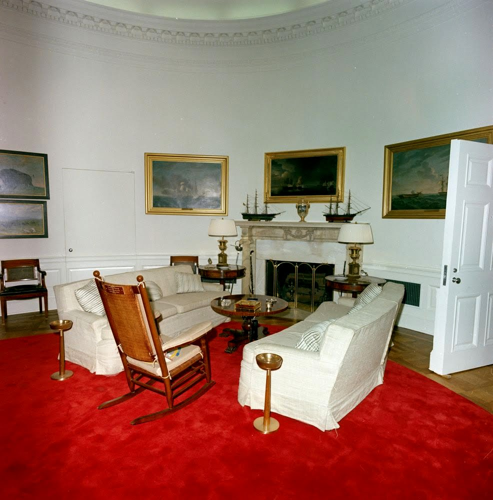 oval office picture. Here, White Slipcovered Sofas With Twin Bronze Ash Trays! Notice All The Nautical Paintings And Models. John Kennedy Never Saw His Newly Decorated Office Oval Picture