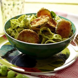 Pistachio Pesto Tagliatelle and Breaded Zucchini