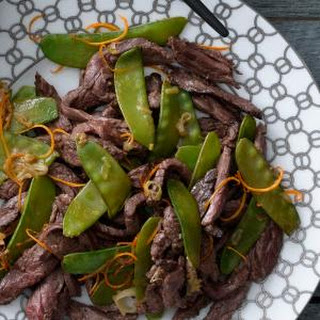 Tangerine Beef With Snow Peas.