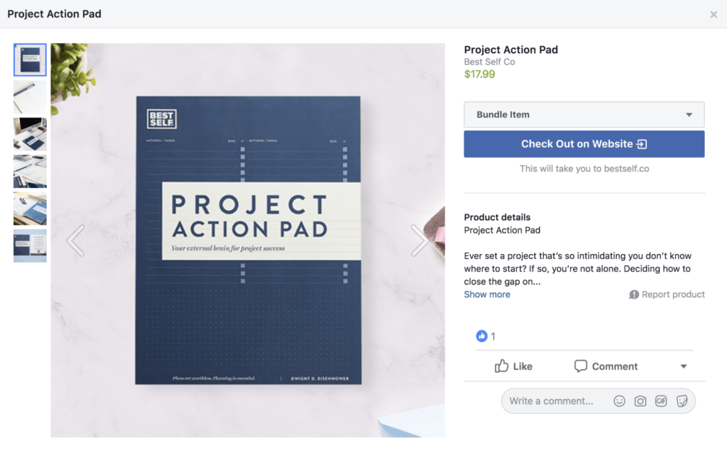 Facebook Product page