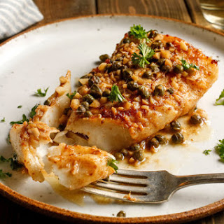Seared Halibut With Anchovies, Capers And Garlic