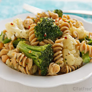 Pasta and Vegetables with White Sauce.