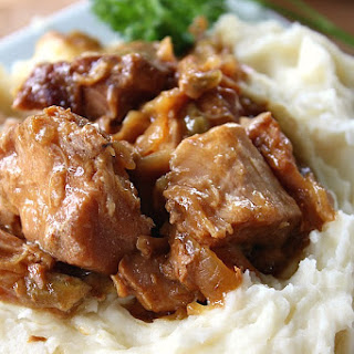 Crock Pot Pork with Mashed Potatoes.