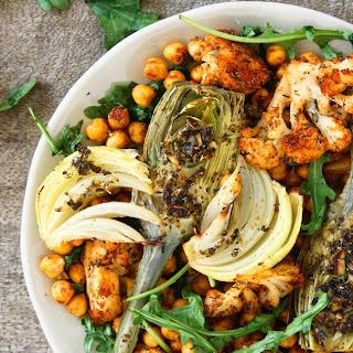 Garlicky Oven Roasted Vegetables & Chickpeas