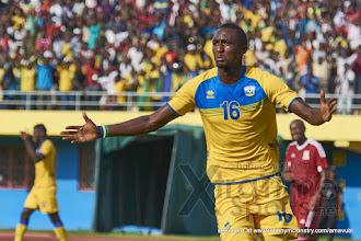 Photo: Ernest SUGIRA celebrates putting Rwanda 2-0 ahead. [Rwanda v Mauritius, AFCON 2017 Qualifier, 29 March 2016 in Kigali, Rwanda.  Photo © Darren McKinstry 2016, www.XtraTimeSports.net]