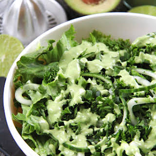 All Green Salad with a Creamy Avocado Vinaigrette.