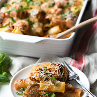 Baked Rigatoni Pasta with Spinach and Meatballs.