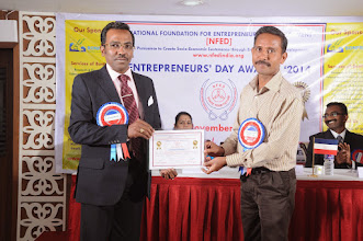 Photo: Prof. Dr. R. Ganesan, Chairman, NFED Issuing Certificate of Appreciation To Prof. A. Jayaraman, Presidium Member of NFED at Entrepreneurs' Day Awards '2014