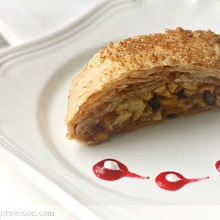 Apple Strudel with Cranberry Sauce.