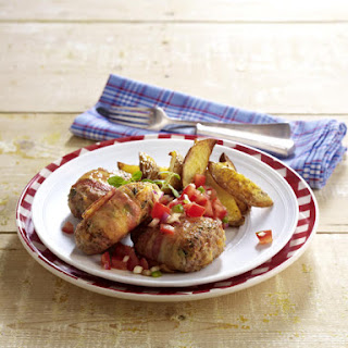 Veal and Bacon Meatballs with Salsa and Potato Wedges