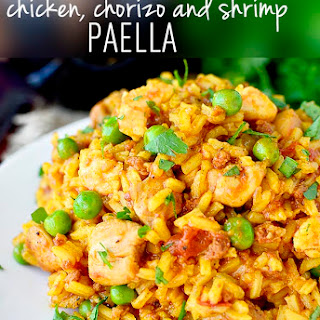 Easy Chicken, Chorizo and Shrimp Paella.