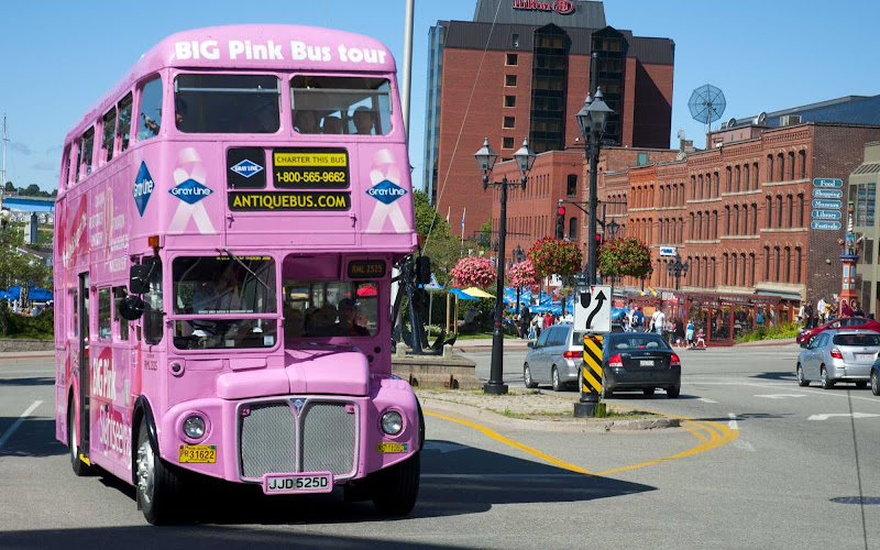 The Big Pink sightseeing bus is an easy way to see the attractions of Saint John, New Brunswick, Canada.