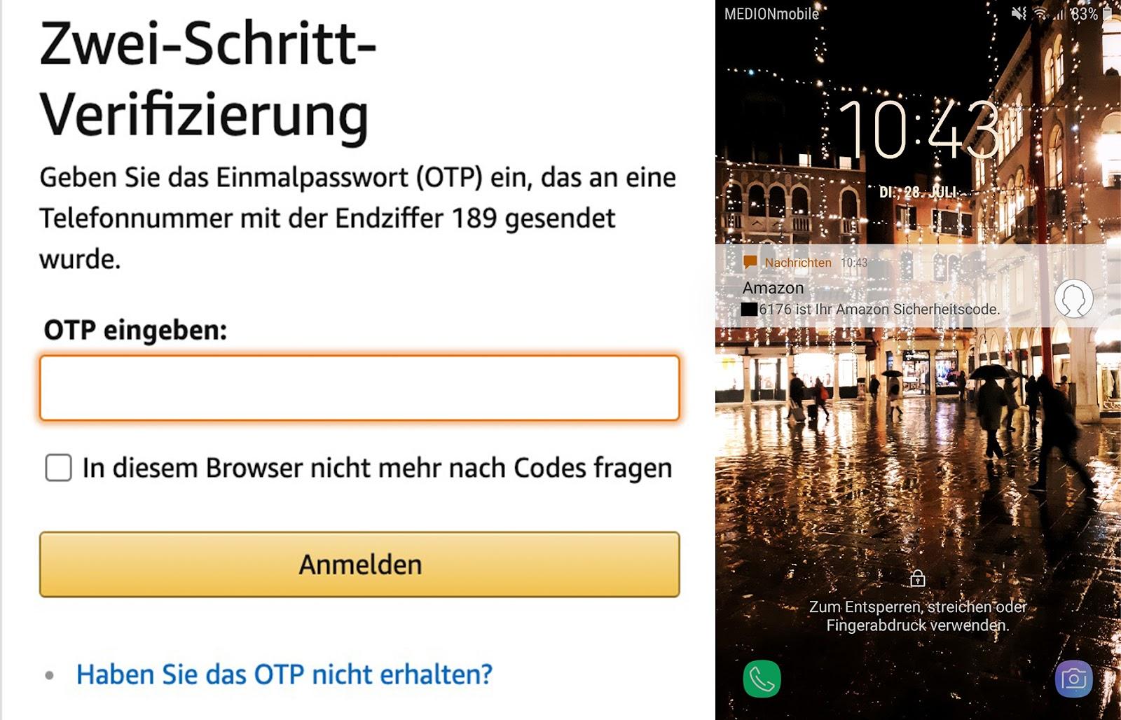 Amazon Verkäuferkonto 2 FA Verifizierung