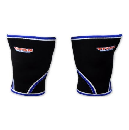 TITAN knee support 7mm- svart med blå vit bård