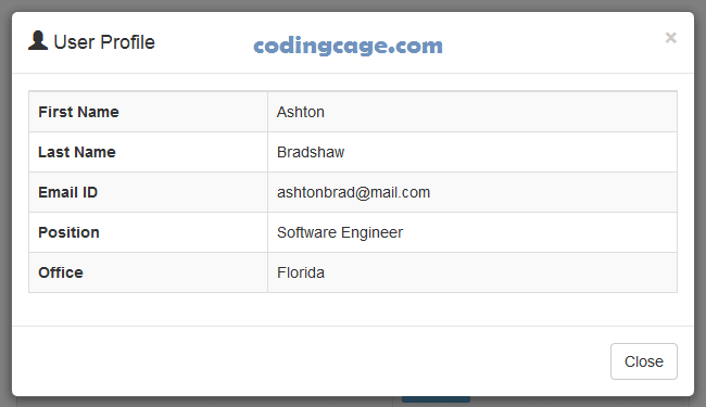 Bootstrap Modal With Dynamic Mysql Data Using Ajax Php Coding Cage