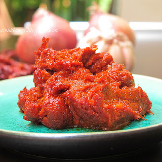 Homemade Asian basic chili paste (sambal tumis).