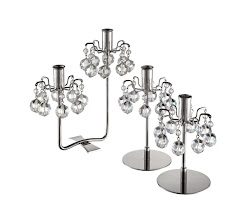 """Photo: J&L Lobmyer """"Lights of Vienna"""" nickel- plated candlesticks crafted with Austrian crystals. Two light, 7"""" high. $975. 4.5″ or 5.25″ high. $497. Austria. Seventh Floor. 212 872 2686"""