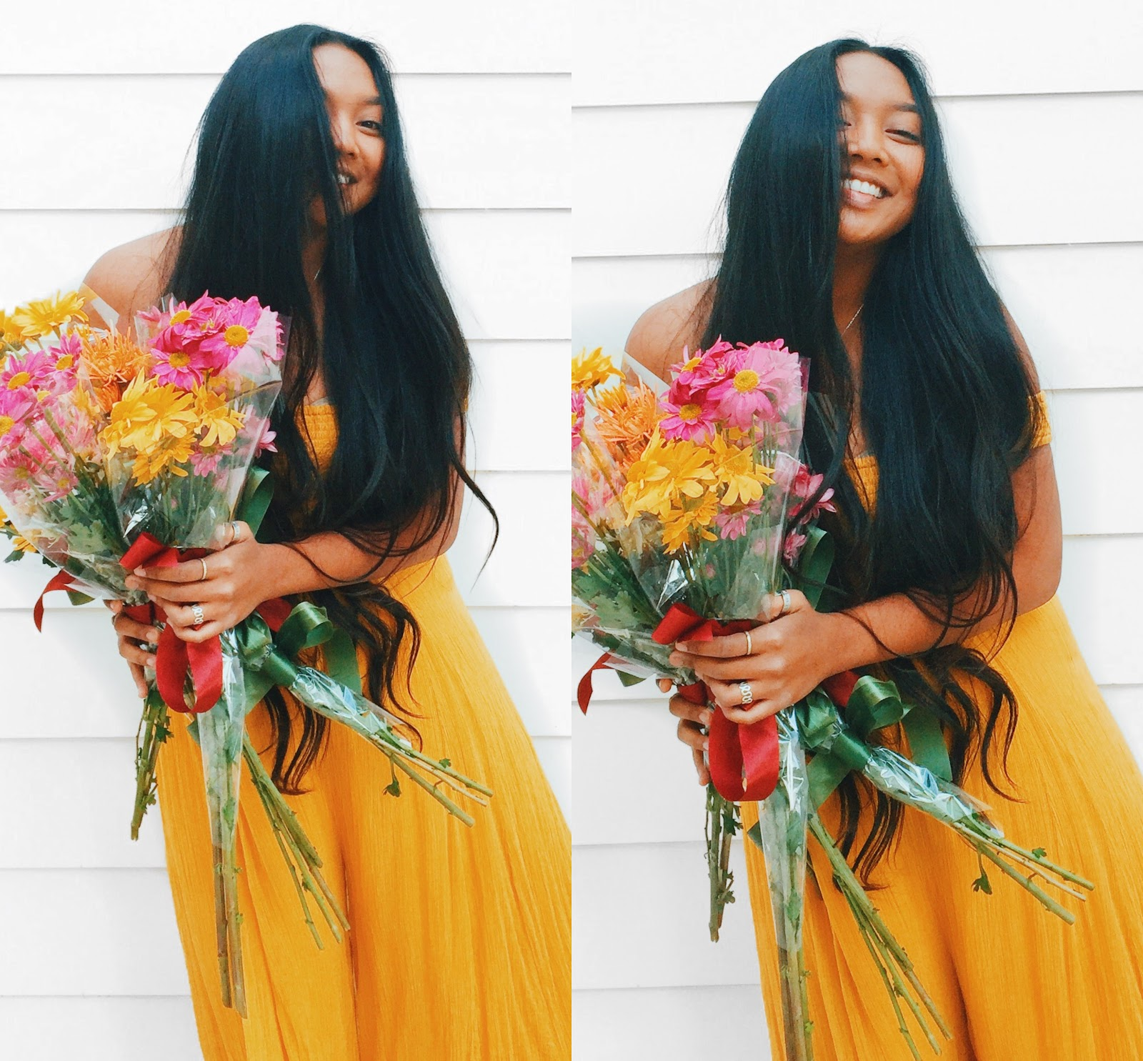 Aubrey with long hair and a bouquet of beautiful flowers