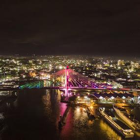 Soekarno bridge by Irfan Firdaus - City,  Street & Park  Night ( travel photography, slow, night, bridge, low light )
