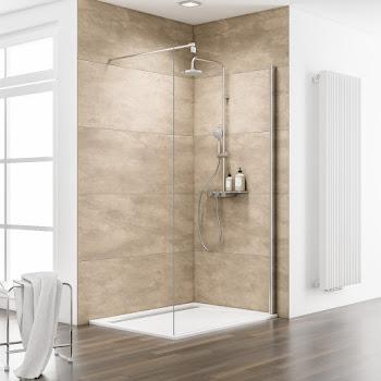 Paroi de douche fixe à l'italienne Walk In, 90, 100, 120 ou 140 cm, Espace 8