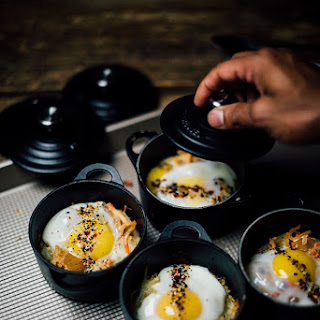 Baked Eggs With Shichimi Togarashi And Kimchi.
