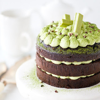 Chocolate Cake with Whipped Matcha Ganache