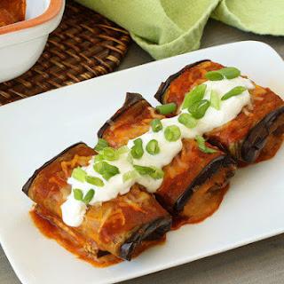 Bean & Cheese Eggplant 'Chiladas.