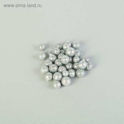 """Наполнитель декоративный """"Волшебные шарики"""", серебряный блеск, 10 гр/250 мл."""