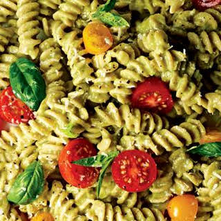 Fusilli with Basil, Tomatoes, and Avocado Sauce.