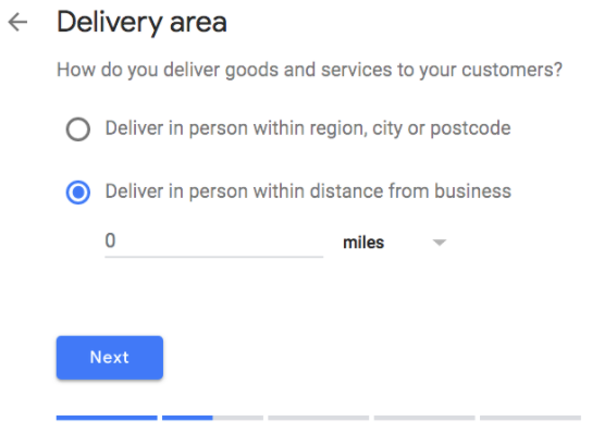 Google My Business - delivery