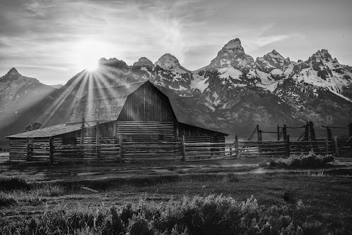 Mormon Sunrise by Givanni Mikel - Black & White Landscapes ( mormon, national park, starburst, teton, row,  )