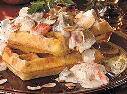 Chicken A La King With Crisp Cheddar-cornmeal Waffles Recipe