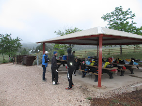 Photo: All finished with the early morning set up of the Horsetooth Aid Station and ready for the 25 and 50 mile racers soon to arrive at Mile 10.