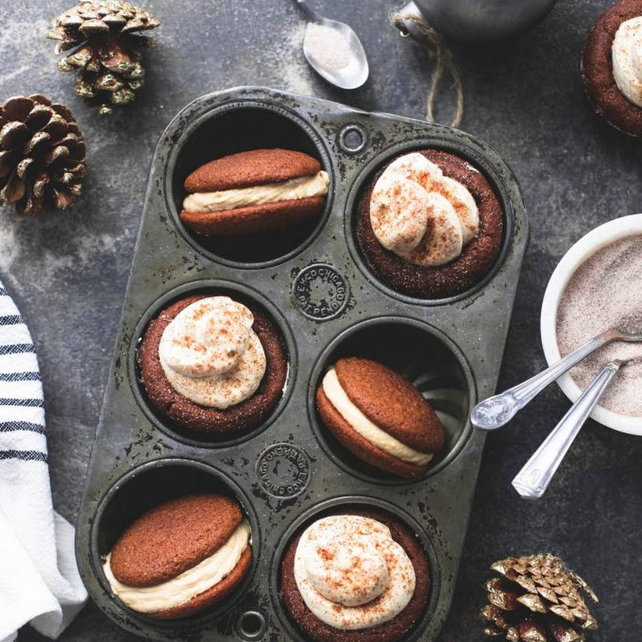 Gingerbread Cheesecake Cups and Gingerbread Whoopie Pies with Caramel Frosting